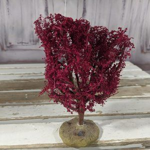 Lemax red tree forest snow xmas holiday decor scen